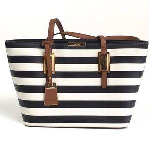 Aldo Tote Bag Faux Leather Black & White Stripes
